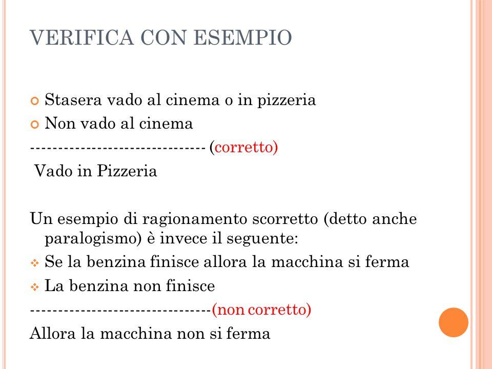 VERIFICA CON ESEMPIO Stasera vado al cinema o in pizzeria