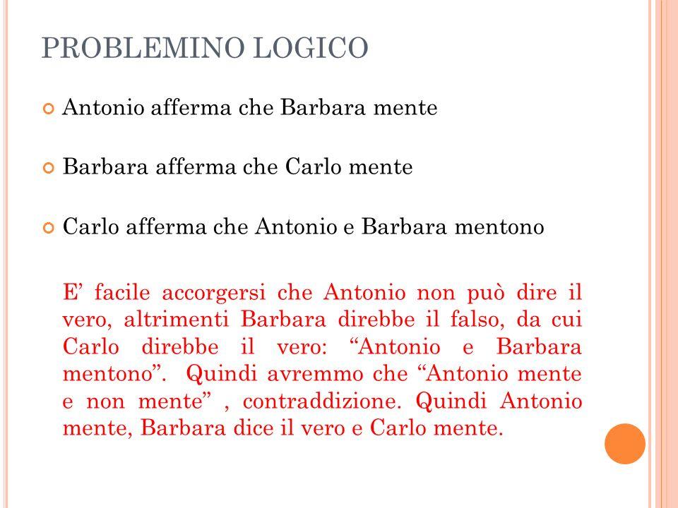 PROBLEMINO LOGICO Antonio afferma che Barbara mente