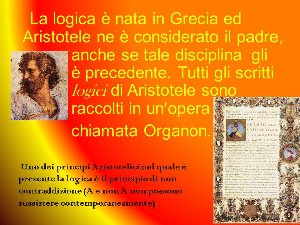 La logica è nata in Grecia ed Aristotele ne è considerato il padre, anche se tale disciplina gli è precedente. Tutti gli scritti logici di Aristotele sono raccolti in un'opera chiamata Organon.
