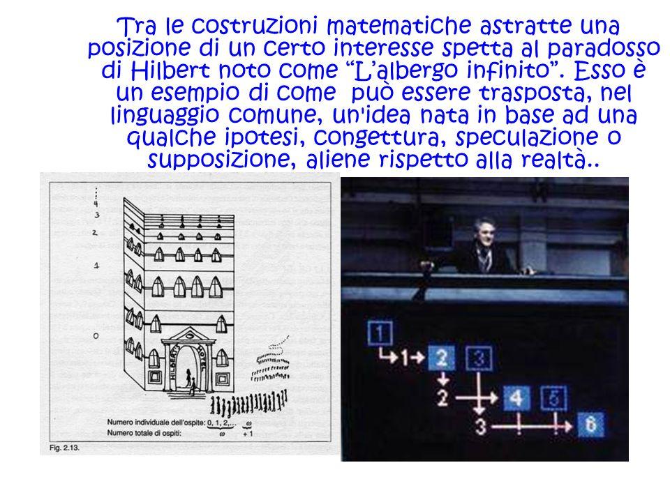 Tra le costruzioni matematiche astratte una posizione di un certo interesse spetta al paradosso di Hilbert noto come L'albergo infinito .