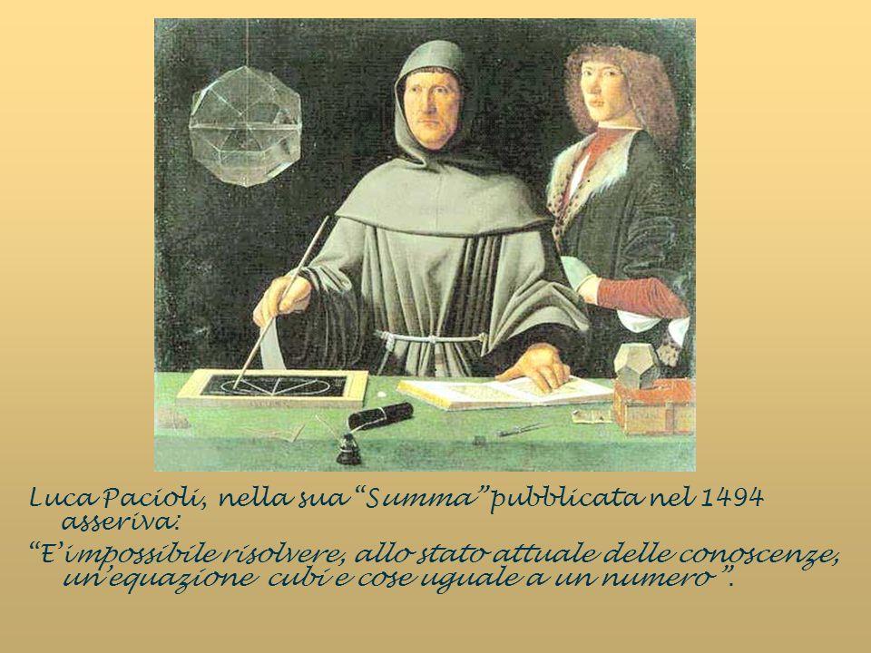 Luca Pacioli, nella sua Summa pubblicata nel 1494 asseriva: