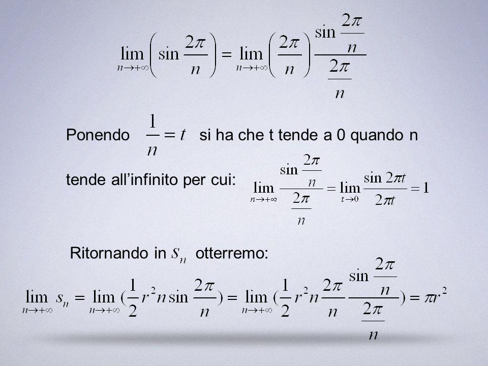 Ponendo si ha che t tende a 0 quando n tende all'infinito per cui: Ritornando in otterremo: