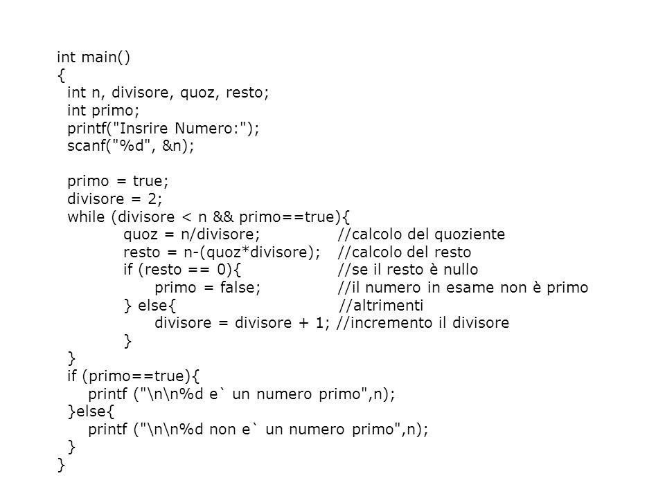 int main() { int n, divisore, quoz, resto; int primo; printf( Insrire Numero: ); scanf( %d , &n);