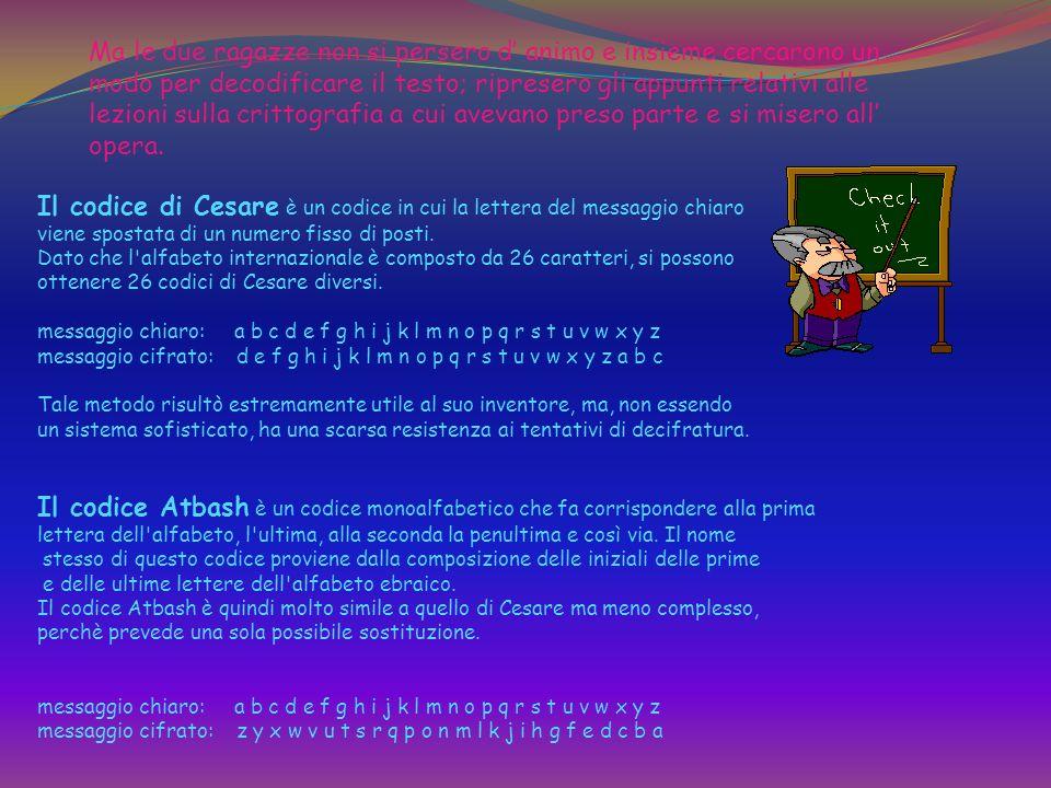 Il codice di Cesare è un codice in cui la lettera del messaggio chiaro