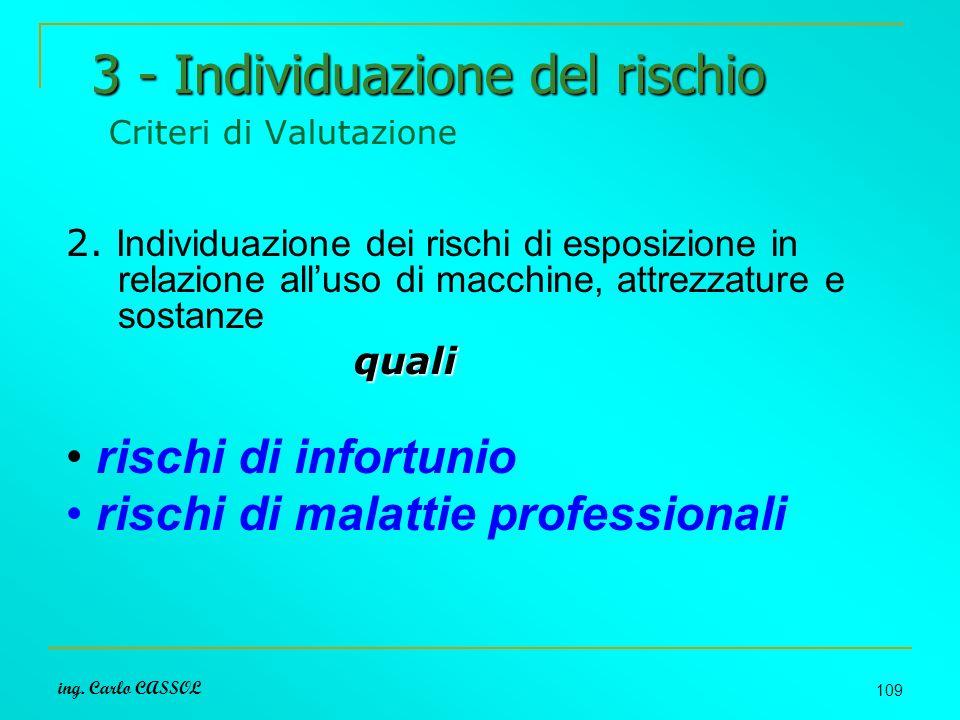 3 - Individuazione del rischio Criteri di Valutazione