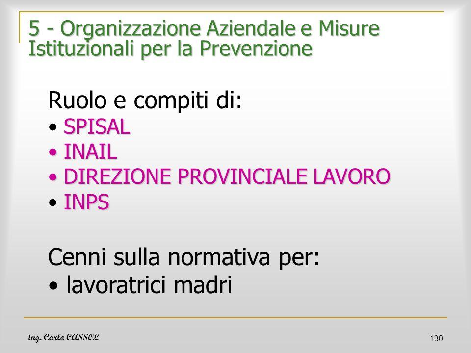 5 - Organizzazione Aziendale e Misure Istituzionali per la Prevenzione