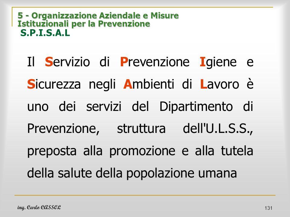 5 - Organizzazione Aziendale e Misure Istituzionali per la Prevenzione S.P.I.S.A.L
