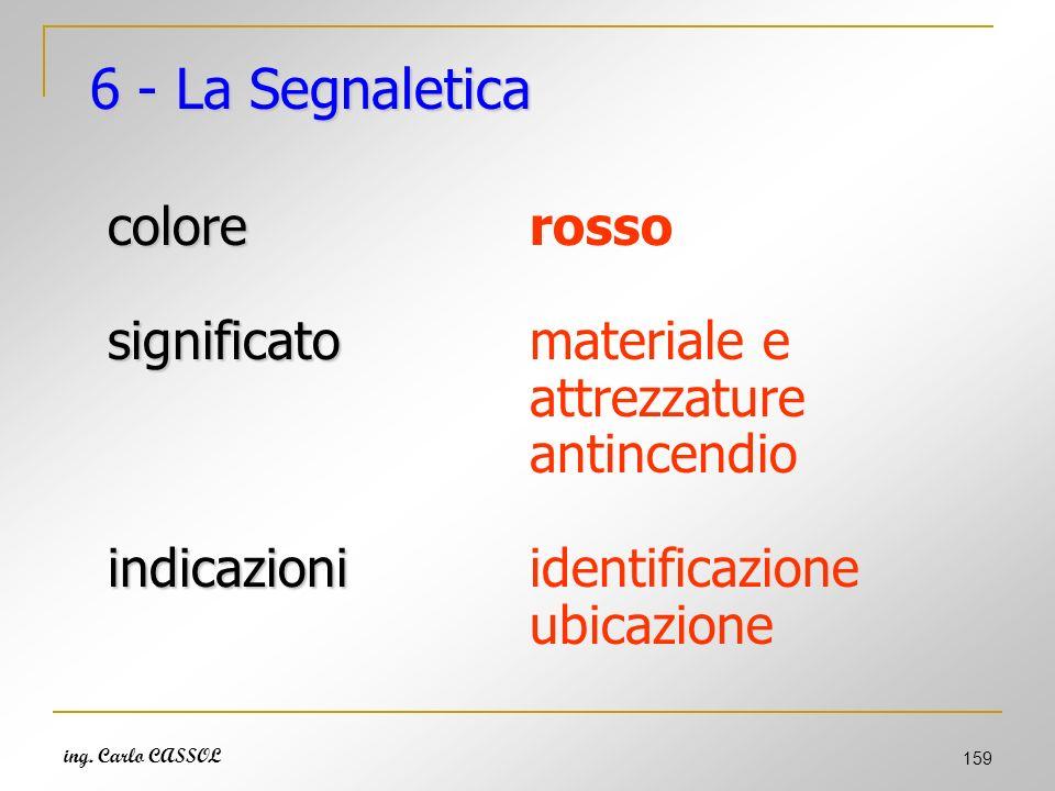 6 - La Segnaletica colore rosso significato materiale e attrezzature