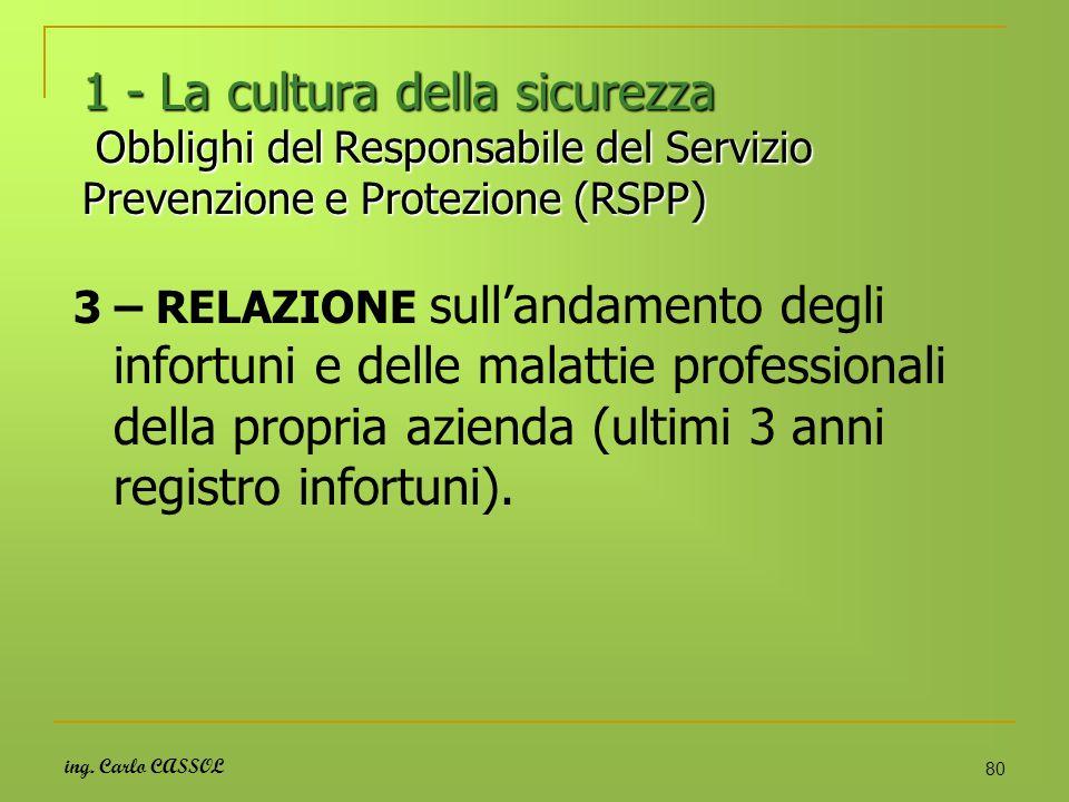 1 - La cultura della sicurezza Obblighi del Responsabile del Servizio Prevenzione e Protezione (RSPP)