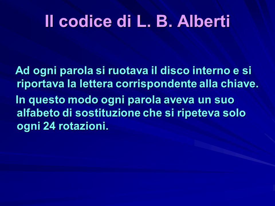 Il codice di L. B. AlbertiAd ogni parola si ruotava il disco interno e si riportava la lettera corrispondente alla chiave.