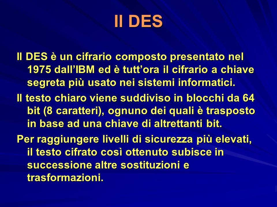 Il DES Il DES è un cifrario composto presentato nel 1975 dall'IBM ed è tutt'ora il cifrario a chiave segreta più usato nei sistemi informatici.