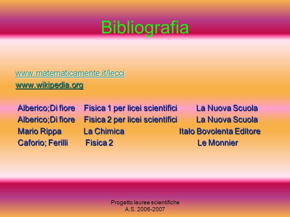 Progetto lauree scientifiche A.S. 2006-2007