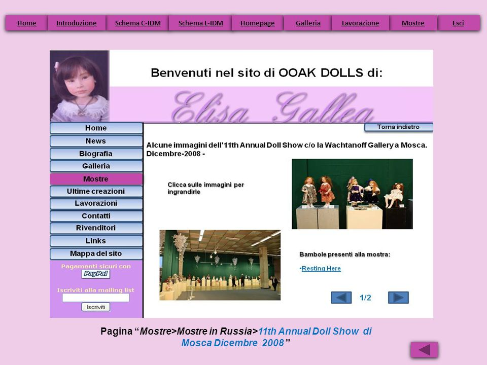 Home Introduzione. Schema C-IDM. Schema L-IDM. Homepage. Galleria. Lavorazione. Mostre. Esci.