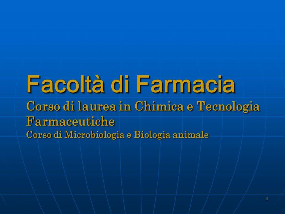 Facoltà di Farmacia Corso di laurea in Chimica e Tecnologia Farmaceutiche Corso di Microbiologia e Biologia animale