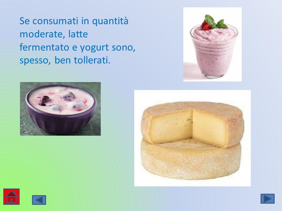 Se consumati in quantità moderate, latte fermentato e yogurt sono, spesso, ben tollerati.