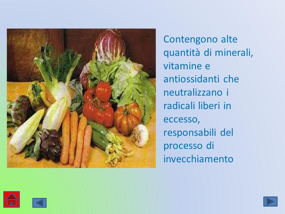 Contengono alte quantità di minerali, vitamine e antiossidanti che neutralizzano i radicali liberi in eccesso, responsabili del processo di invecchiamento