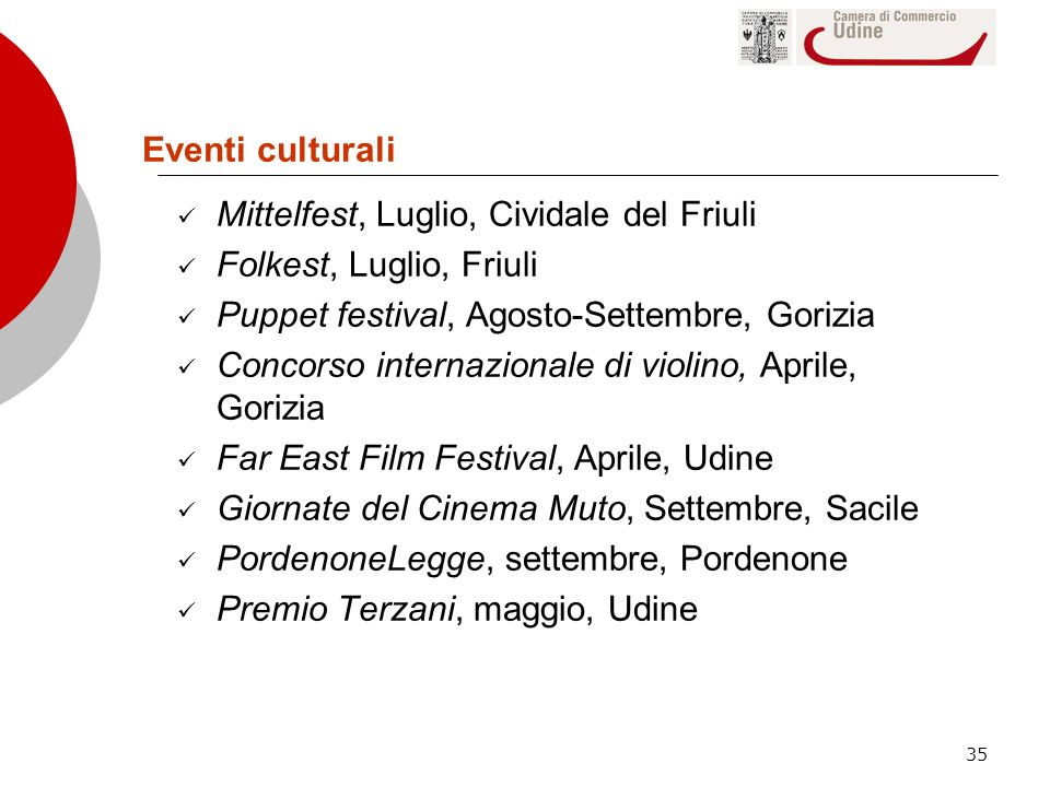 Eventi culturali Mittelfest, Luglio, Cividale del Friuli. Folkest, Luglio, Friuli. Puppet festival, Agosto-Settembre, Gorizia.