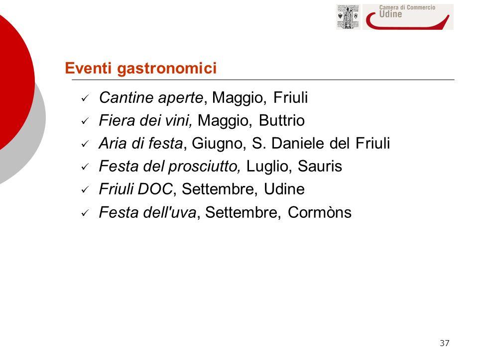 Eventi gastronomici Cantine aperte, Maggio, Friuli. Fiera dei vini, Maggio, Buttrio. Aria di festa, Giugno, S. Daniele del Friuli.