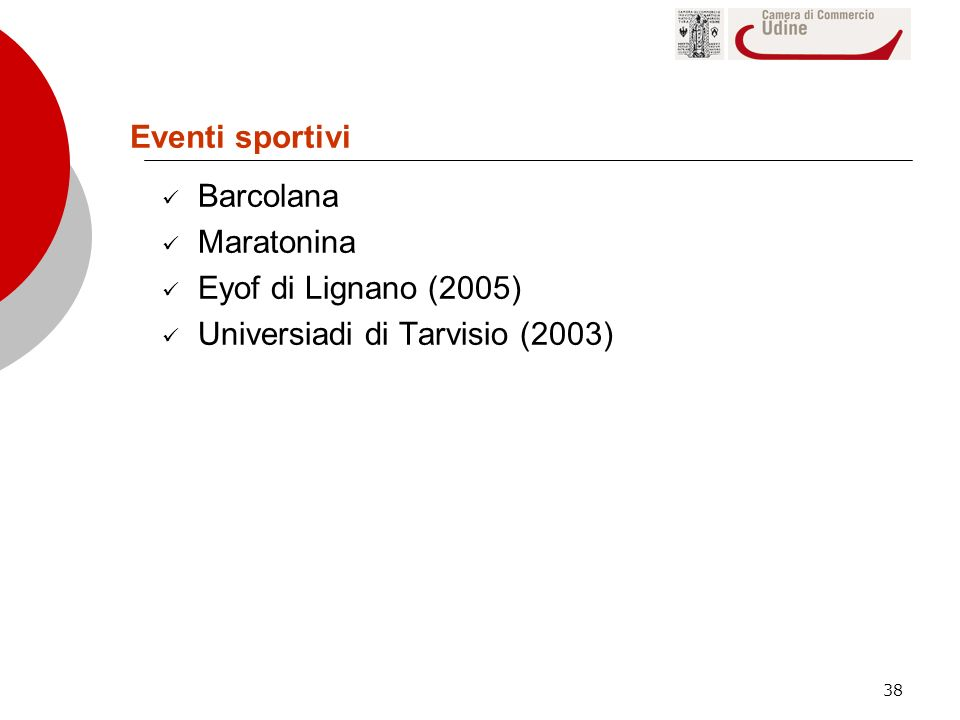 Eventi sportivi Barcolana Maratonina Eyof di Lignano (2005) Universiadi di Tarvisio (2003)