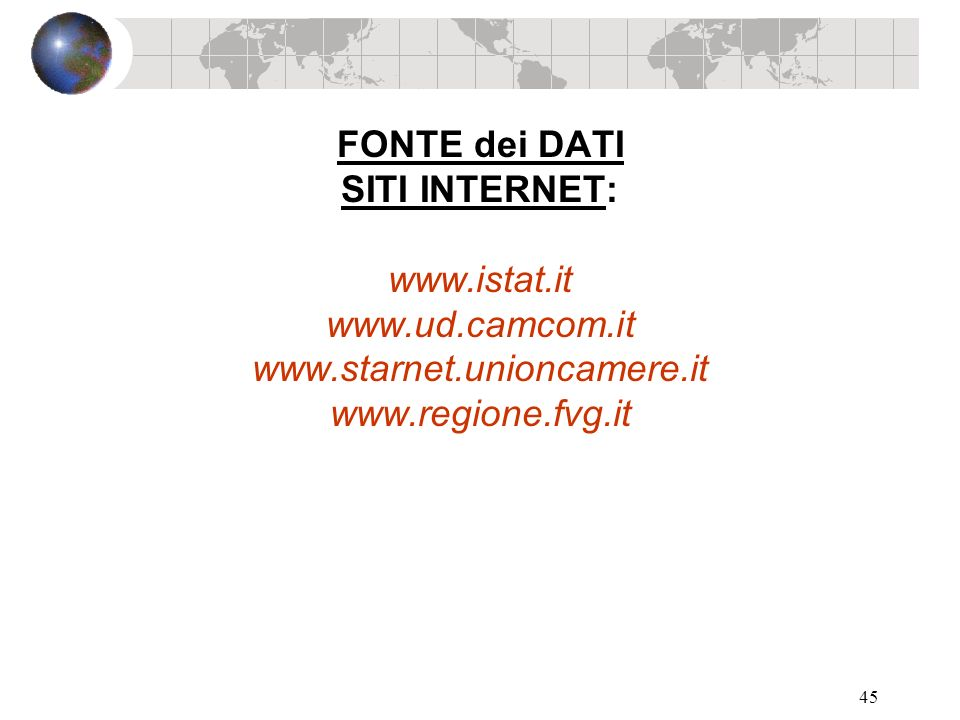 FONTE dei DATI SITI INTERNET: www. istat. it www. ud. camcom. it www