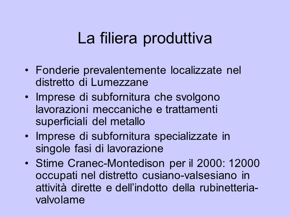 La filiera produttiva Fonderie prevalentemente localizzate nel distretto di Lumezzane.