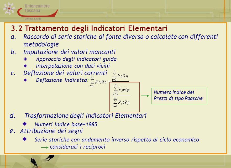 3.2 Trattamento degli Indicatori Elementari