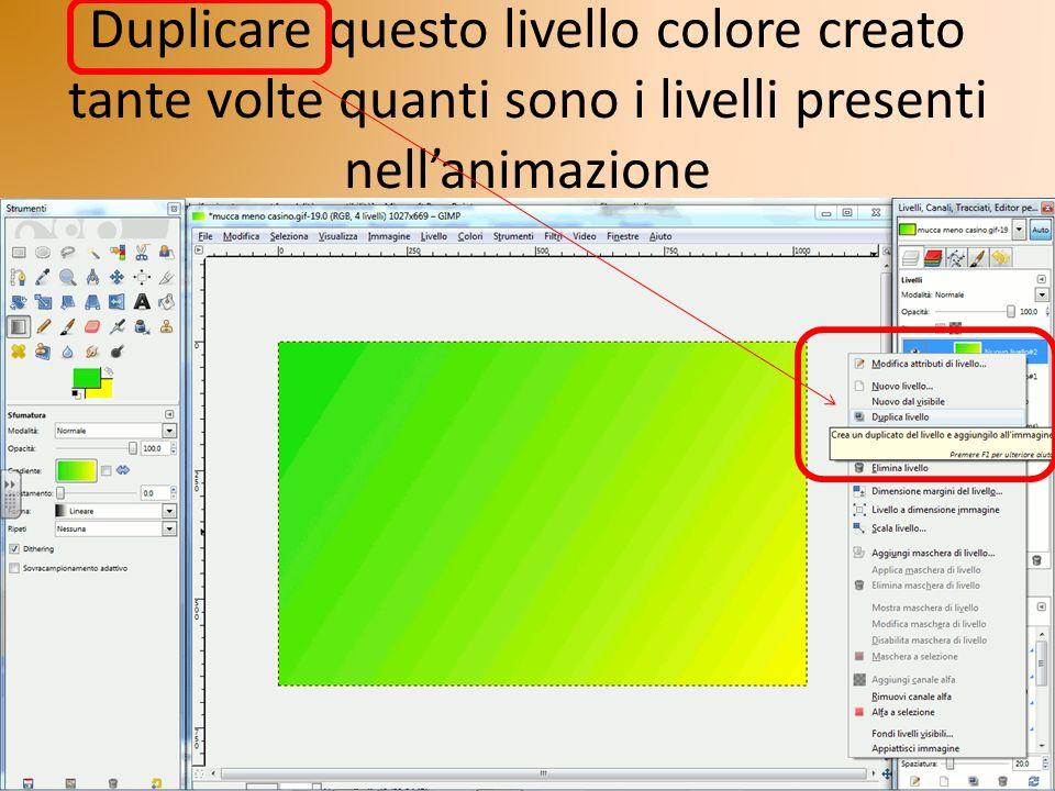 Duplicare questo livello colore creato tante volte quanti sono i livelli presenti nell'animazione