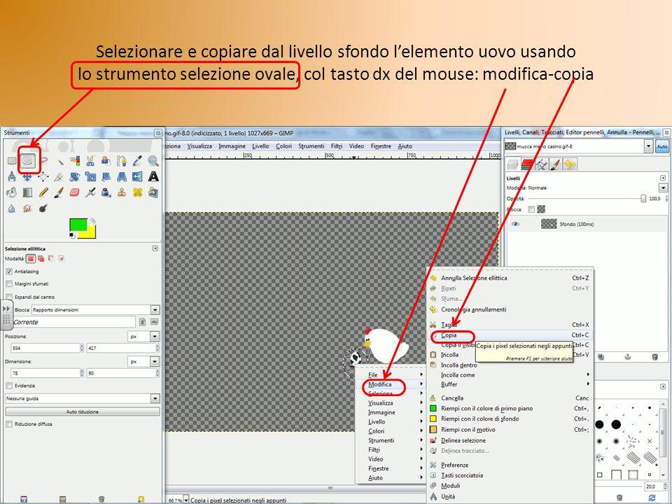 Selezionare e copiare dal livello sfondo l'elemento uovo usando lo strumento selezione ovale, col tasto dx del mouse: modifica-copia