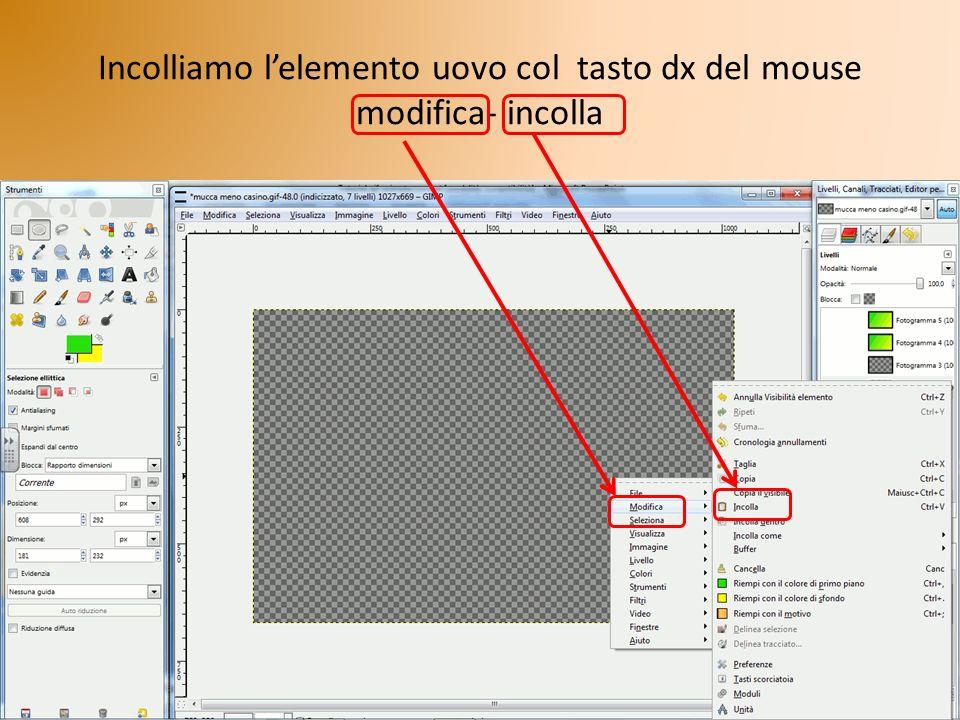 Incolliamo l'elemento uovo col tasto dx del mouse modifica- incolla