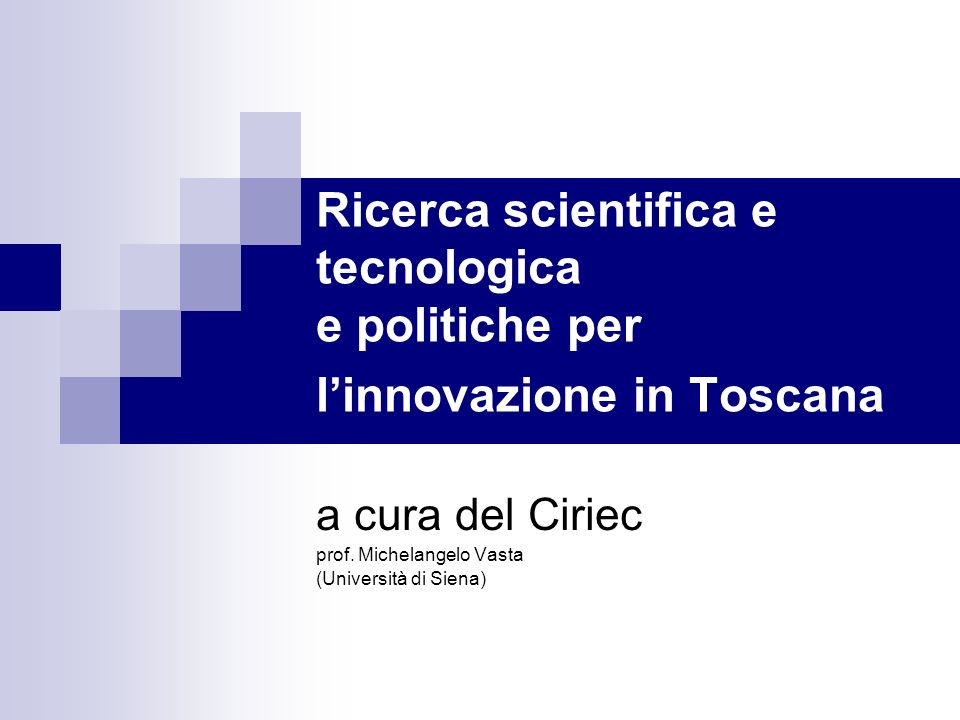 a cura del Ciriec prof. Michelangelo Vasta (Università di Siena)