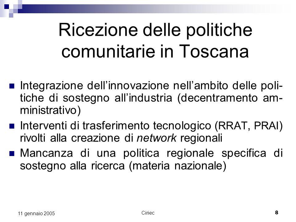 Ricezione delle politiche comunitarie in Toscana