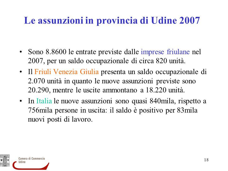 Le assunzioni in provincia di Udine 2007