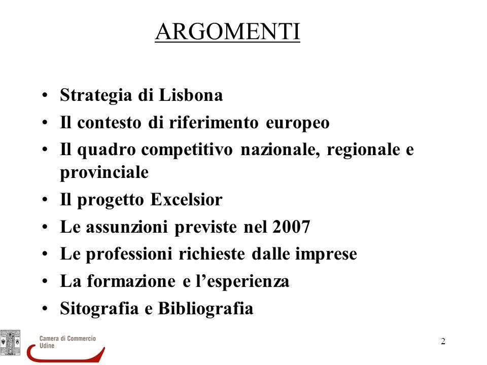 ARGOMENTI Strategia di Lisbona Il contesto di riferimento europeo