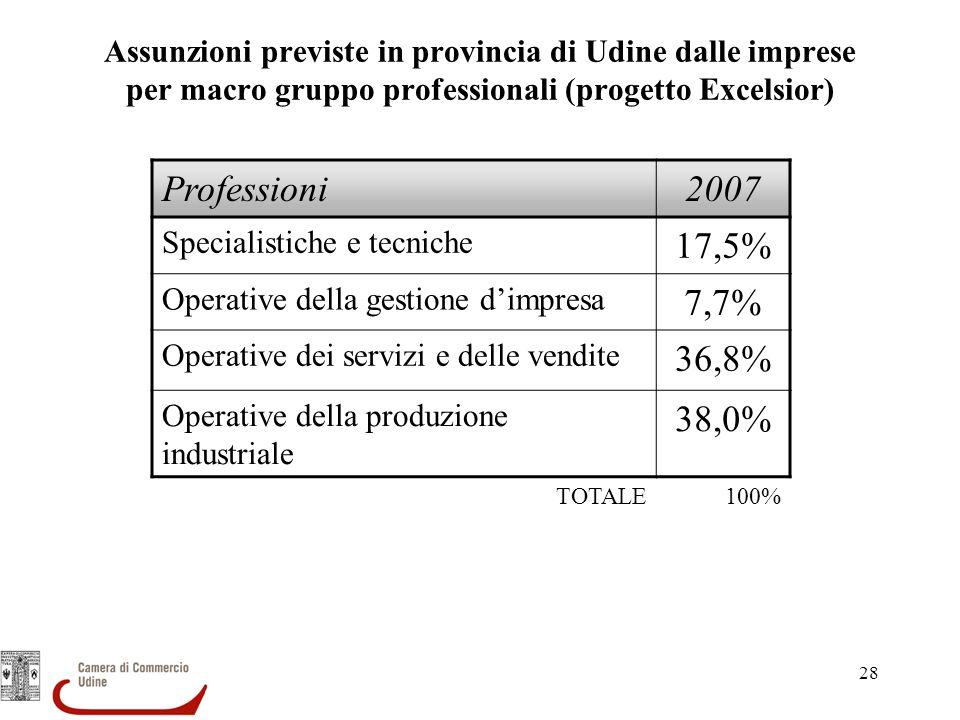 Assunzioni previste in provincia di Udine dalle imprese per macro gruppo professionali (progetto Excelsior)