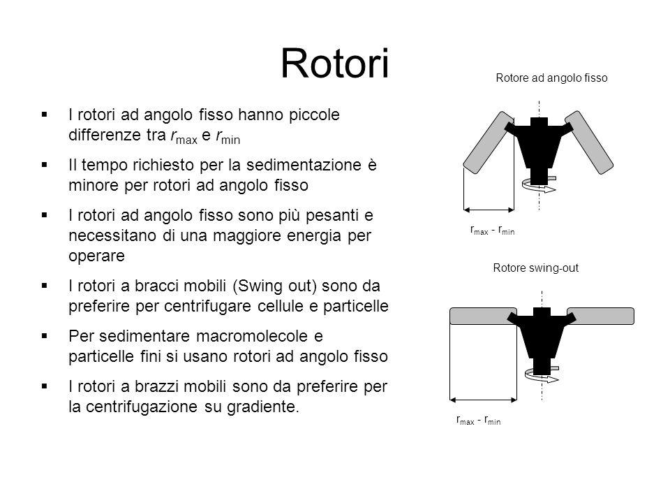 Rotori Rotore ad angolo fisso. I rotori ad angolo fisso hanno piccole differenze tra rmax e rmin.