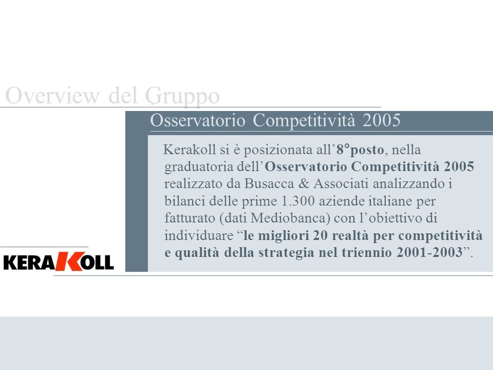 Overview del Gruppo . Osservatorio Competitività 2005