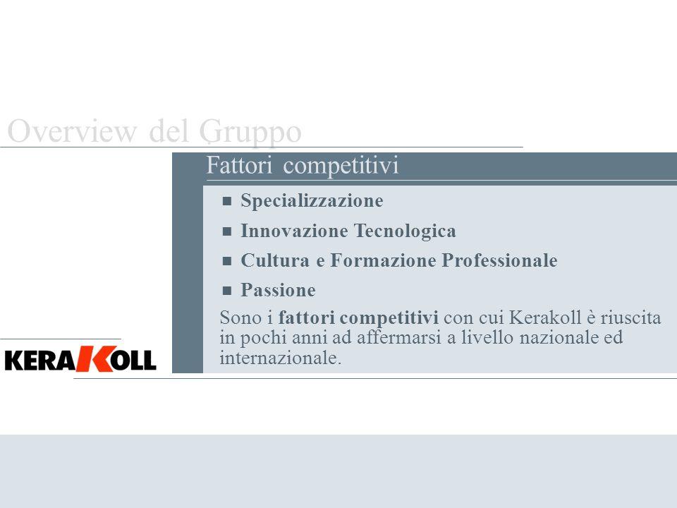 Overview del Gruppo . Fattori competitivi Specializzazione