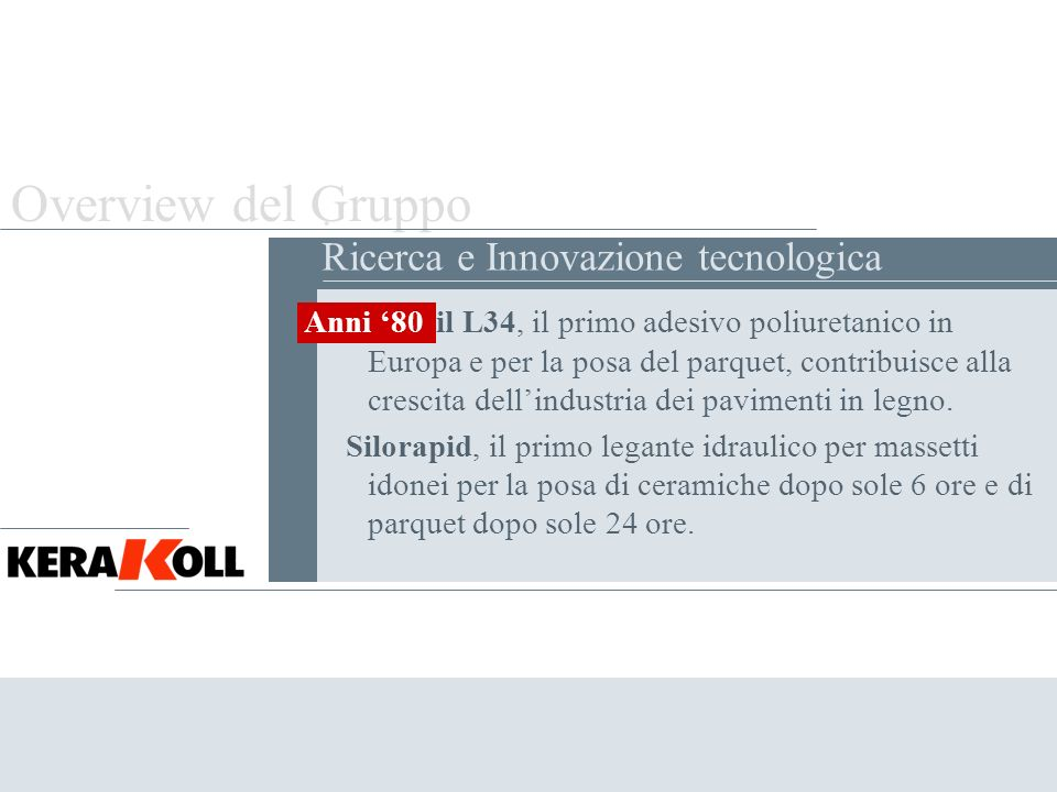 Overview del Gruppo . Ricerca e Innovazione tecnologica Anni '80