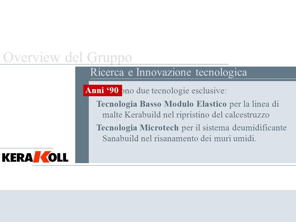 Overview del Gruppo . Ricerca e Innovazione tecnologica Anni '90