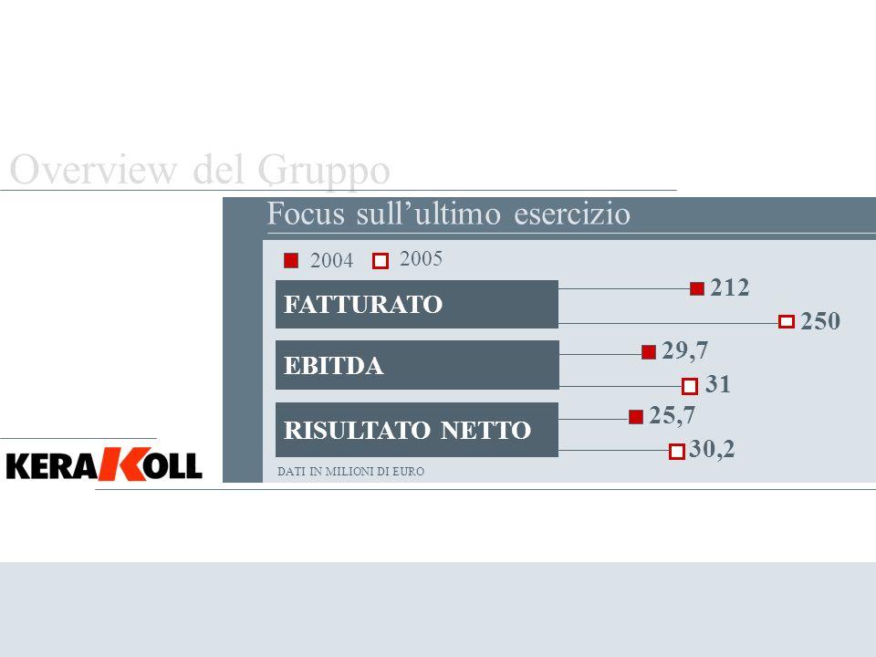 Overview del Gruppo . Focus sull'ultimo esercizio 212 FATTURATO 250