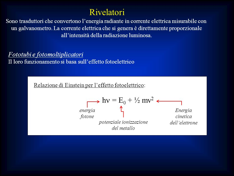 Rivelatori hn = E0 + ½ mv2 Fototubi e fotomoltiplicatori