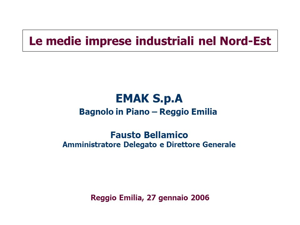Le medie imprese industriali nel Nord-Est