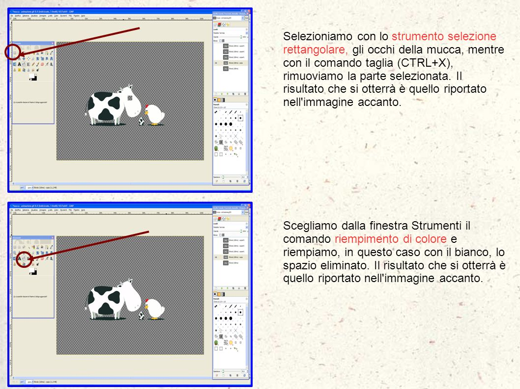 Selezioniamo con lo strumento selezione rettangolare, gli occhi della mucca, mentre con il comando taglia (CTRL+X), rimuoviamo la parte selezionata. Il risultato che si otterrà è quello riportato nell immagine accanto.