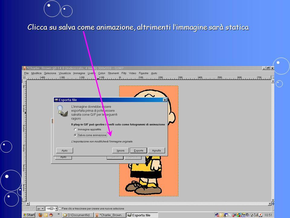 Clicca su salva come animazione, altrimenti l'immagine sarà statica
