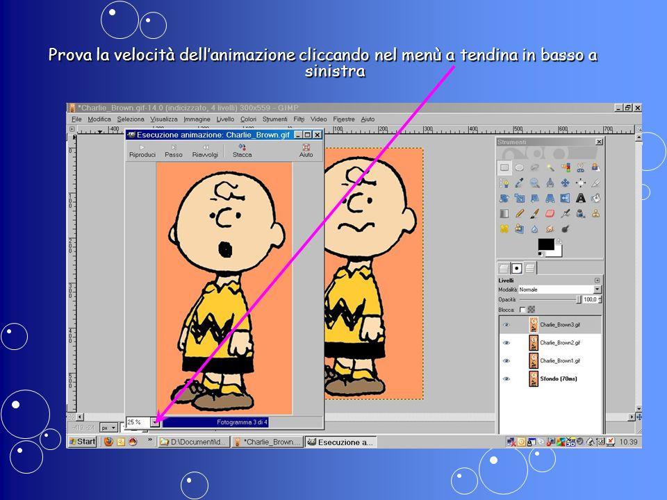 Prova la velocità dell'animazione cliccando nel menù a tendina in basso a sinistra
