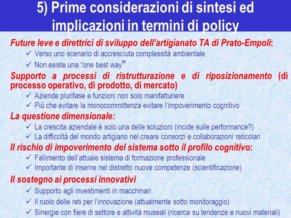5) Prime considerazioni di sintesi ed implicazioni in termini di policy