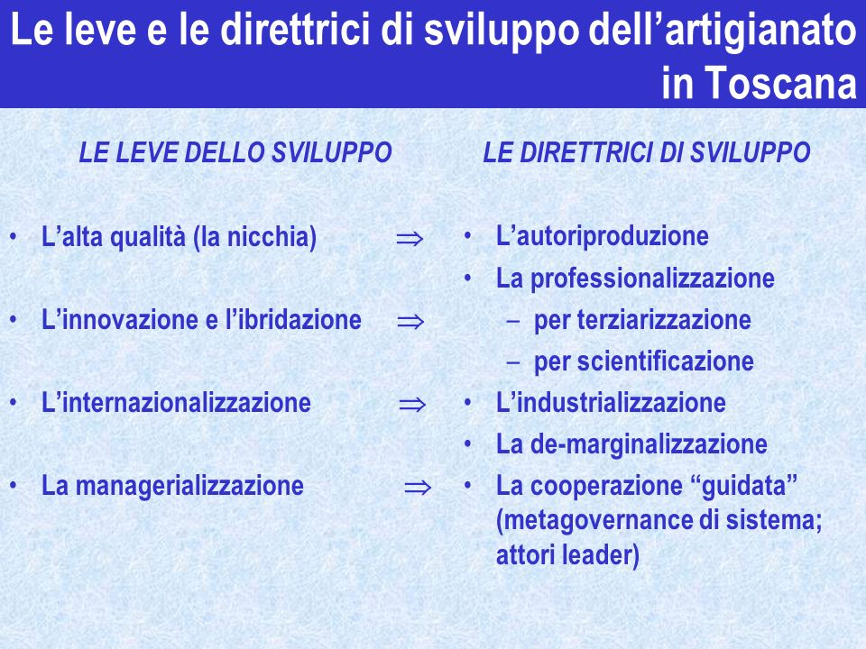 Le leve e le direttrici di sviluppo dell'artigianato in Toscana