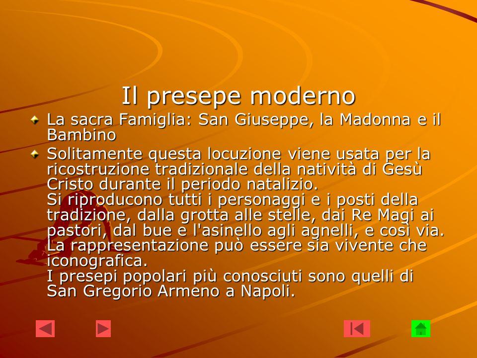 Il presepe moderno La sacra Famiglia: San Giuseppe, la Madonna e il Bambino.