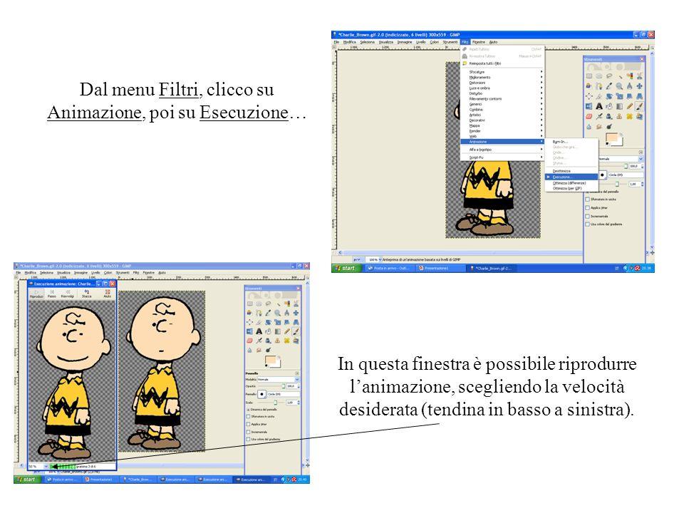 Dal menu Filtri, clicco su Animazione, poi su Esecuzione…