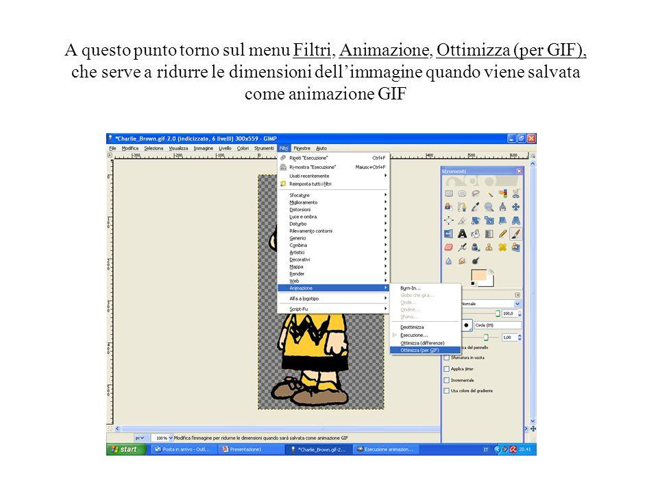 A questo punto torno sul menu Filtri, Animazione, Ottimizza (per GIF),